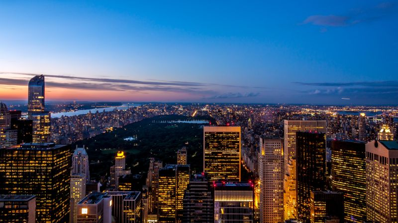 New York City, Skyline, Cityscape, City lights, Skyscrapers, Blue Sky, Dusk, Horizon, Wallpaper