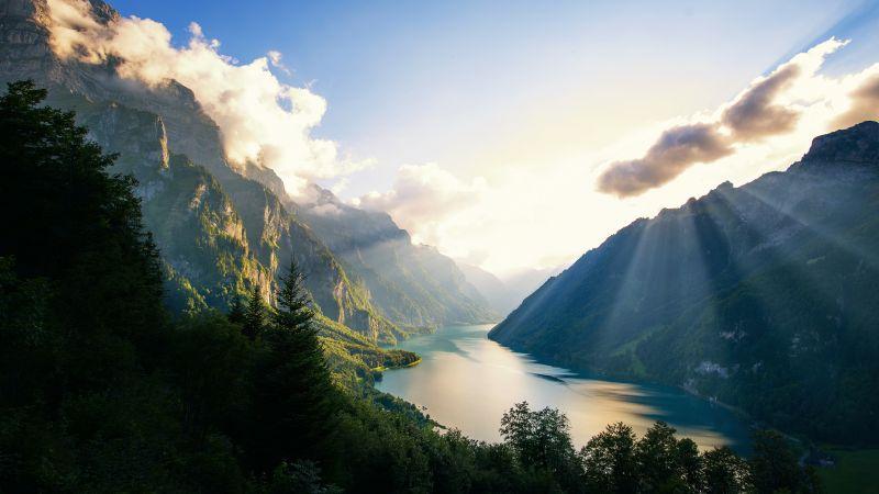 Klöntalersee Lake, Alps, Switzerland, Landscape, Mountains, Sunset, Sunrays, Clouds, Green Trees, Scenery, Wallpaper