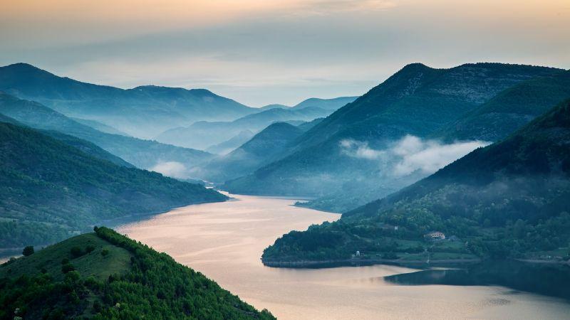 Kardzhali Reservoir, Bulgaria, Arda River, Landscape, Sunrise, Misty, Hill Station, Mountains, Green Trees, Scenery, 5K, Wallpaper