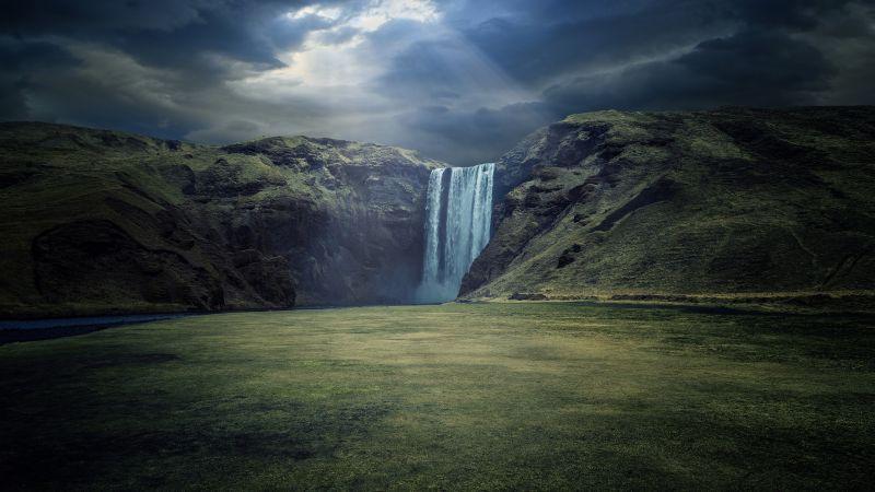 Skógafoss, Waterfalls, Iceland, Cliffs, Sun rays, Skógá River, Dark clouds, Landscape, Scenery, Green Grass, Wallpaper