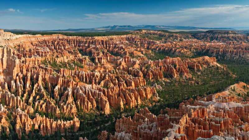 Bryce Canyon National Park, Utah, Rock formations, Bryce Point, Landscape, Scenery, Sunrise, Blue Sky, Tourist attraction, Travel, 5K, Wallpaper