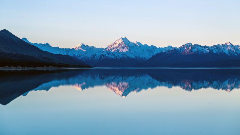 Mount Cook, Lake Pukaki, New Zealand, Sunset, Dusk, Mountain range, Snow covered, Reflection, Landscape, Scenery, 5K, Wallpaper