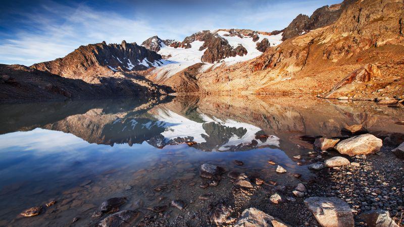 Lac des Quirlies, Mountain lake, France, Snow covered, Landscape, Reflection, Glacier, Rocks, Wallpaper
