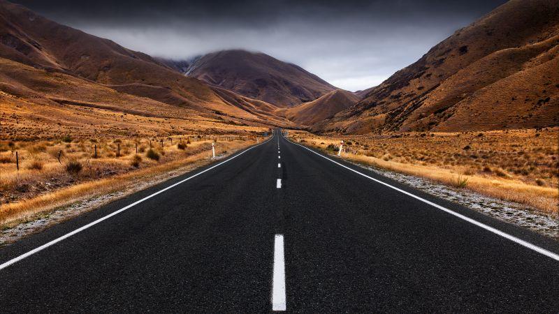 Lindis Pass, New Zealand, Landscape, Empty Road, Landscape, Misty, Mountain Plateau, Scenic, Wallpaper