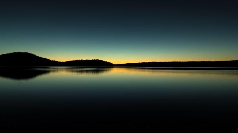 Paulina Lake, Oregon, Sunrise, Silhouette, Body of Water, Reflection, Landscape, Scenic, Dark Sky, Wallpaper