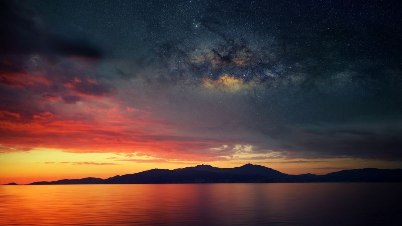 Corsica Island, Sunset Orange, Silhouette, Landscape, Astronomy, Galaxies, Milky Way, Starry sky, Scenery, Mountains, Wallpaper