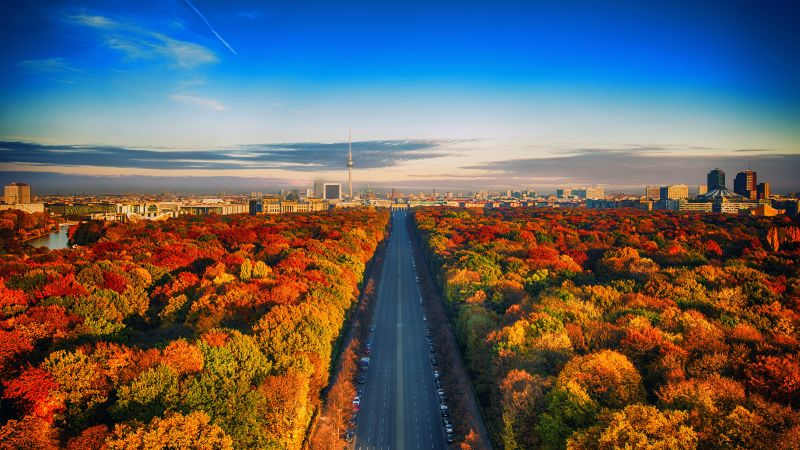 Autumn trees, Berlin City Skyline, Germany, Highway, Colorful, Blue Sky, Cityscape, Berlin TV Tower, Landscape, Beautiful, 5K, Wallpaper