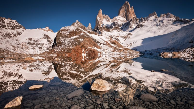Laguna de los Tres, Iconic Trek, El Chaltén, Fitz Roy, Argentina, Mountain Peaks, Snow Covered, Landscape, Reflection, Clear water, Los Glaciares National Park, Tourist attraction, Wallpaper