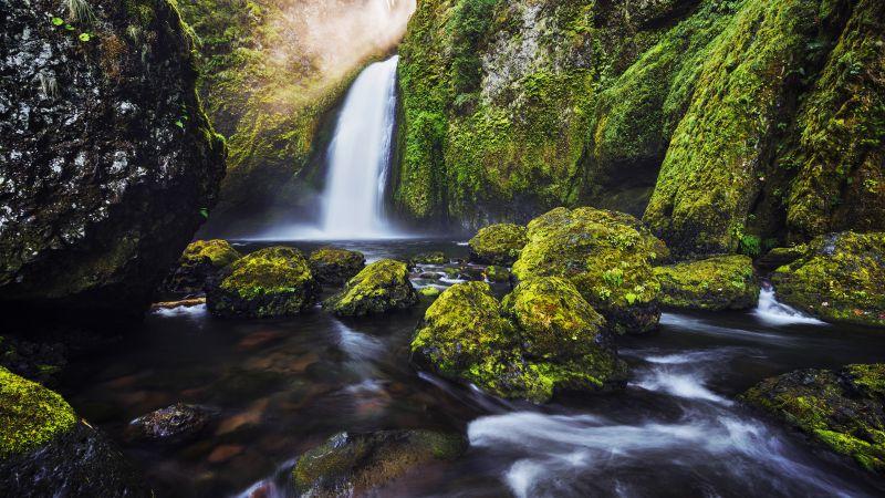 Waterfalls, Green Moss, Water Stream, Long exposure, HDR, Rocks, Landscape, Scenery, Wallpaper