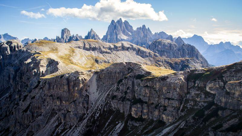 Tre Cime di Lavaredo, Dolomites, Mountain range, Italy, Landscape, Mountain Peaks, Wallpaper