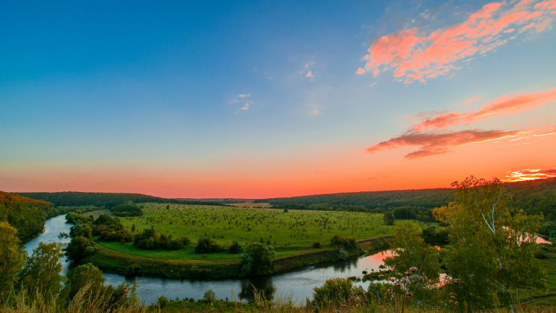 Upa River, Tula Region, Russia, Sunset Orange, Clear sky, Green Meadow, Water flow, Landscape, 5K, Wallpaper