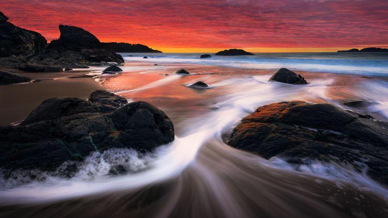 Marshall Beach, San Francisco, Sunset, Orange sky, Seascape, Long exposure, Ocean, Rocks, Scenery, Landscape, Wallpaper