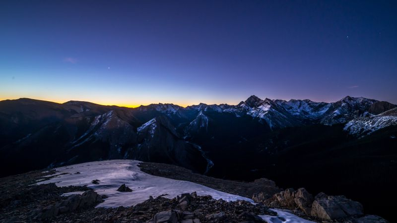 Sulphur Skyline Trail, Hiking trail, Jasper National Park, Canada, Mountain range, Snow covered, Glacier mountains, Clear sky, Sunset, Landscape, Peaks, Summit, 5K, Wallpaper