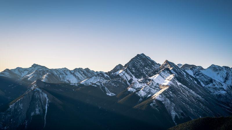 Sulphur Skyline Trail, Jasper National Park, Canada, Mountain range, Snow covered, Glacier mountains, Clear sky, Sun rays, Landscape, Peaks, 5K, Wallpaper