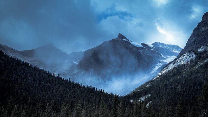 Yoho National Park, Canada, Mountain range, Misty mountains, Snow covered, Cloudy Sky, Alpine trees, Landscape, 5K, Wallpaper