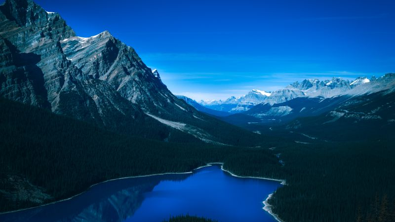 Peyto Lake, Banff National Park, Canada, Canadian Rockies, Mountain range, Blue Sky, Glacier mountains, Snow covered, Reflection, Green Trees, Landscape, Twilight, 5K, Wallpaper