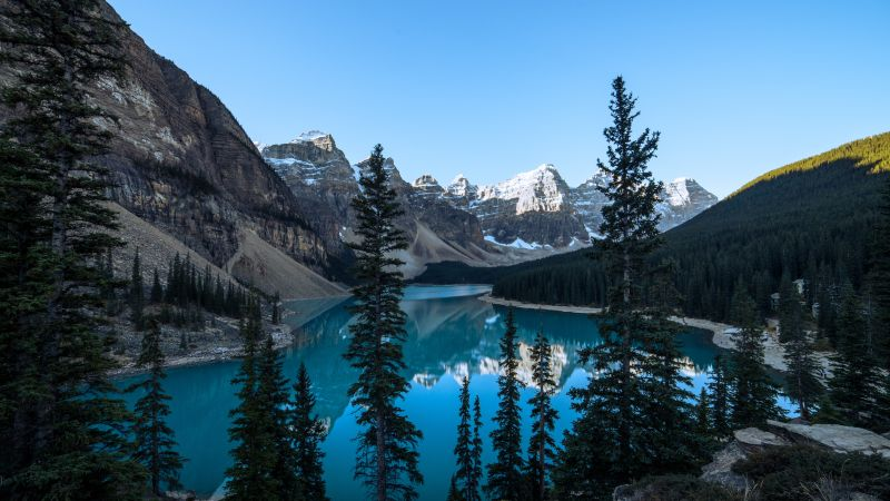 Moraine Lake, Canada, Valley of the Ten Peaks, Banff National Park, Glacier mountains, Green Trees, Reflection, Blue Water, Clear sky, Daytime, Landscape, Scenery, 5K, Wallpaper