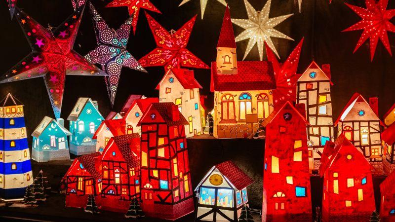 Christmas decoration, Lighting, Stars, Merry Christmas, Wallpaper