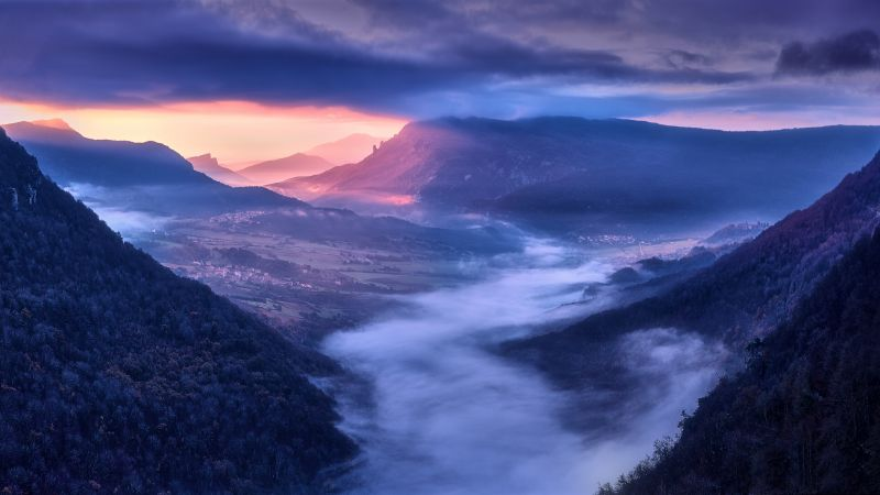 Mountains, Sunrise, Scenic, Early Morning, Countryside, Village, Sunlight, Hill Station, Clouds, Foggy, 5K, Wallpaper