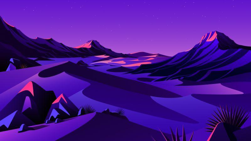Lake, Mountains, Rocks, Twilight, Sunset, Starry sky, Purple sky, Scenery, Illustration, macOS Big Sur, iOS 14, Stock, Aesthetic, 5K, Wallpaper