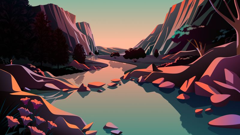 Lake, Mountains, Rocks, Sunrise, Daylight, Scenery, Illustration, macOS Big Sur, iOS 14, Stock, 5K, Wallpaper