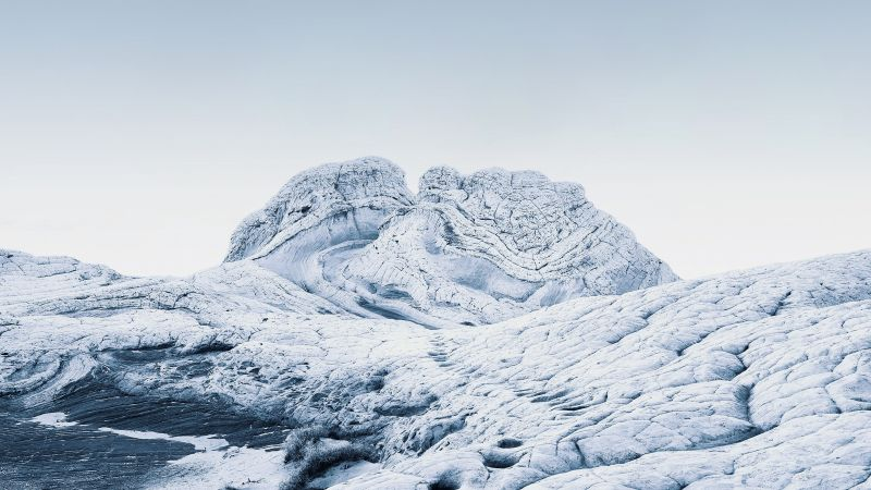 macOS Big Sur, Stock, Cold, Winter, Sedimentary rocks, Daylight, iOS 14, 5K, Wallpaper