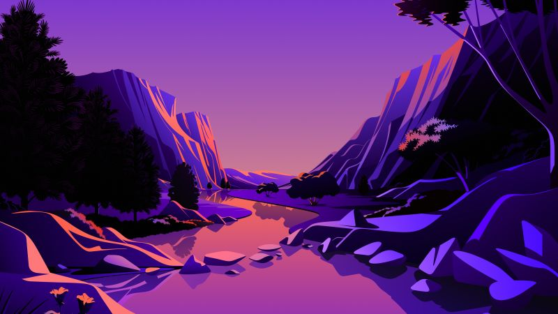 Lake, Mountains, Rocks, Twilight, Sunset, Purple sky, Pink sky, Scenery, Illustration, macOS Big Sur, iOS 14, Stock, Aesthetic, 5K, Wallpaper
