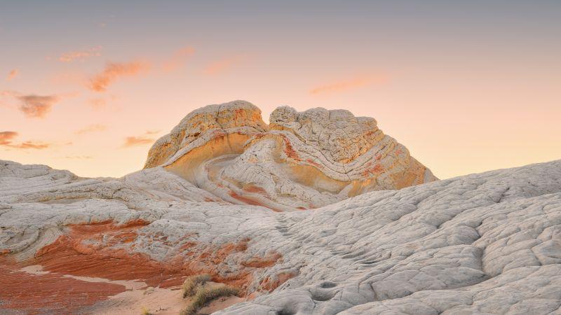 macOS Big Sur, Stock, Daytime, Sedimentary rocks, Daylight, Golden Sky, iOS 14, 5K, Wallpaper