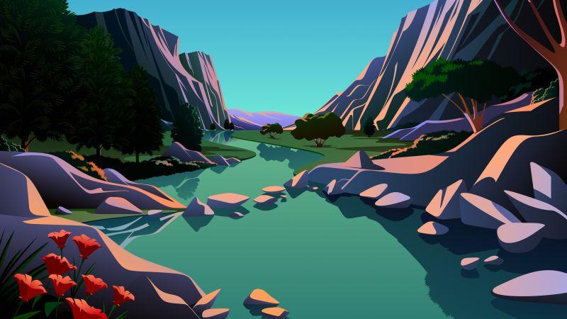 Lake, Mountains, Rocks, Evening, Scenery, Illustration, macOS Big Sur, iOS 14, Stock, 5K, Wallpaper