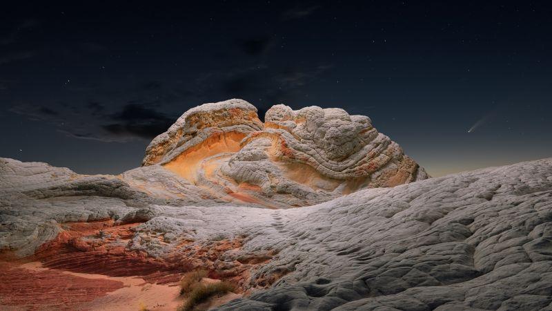macOS Big Sur, Stock, Sedimentary rocks, Evening, Starry sky, Sunset, iOS 14, 5K, Wallpaper