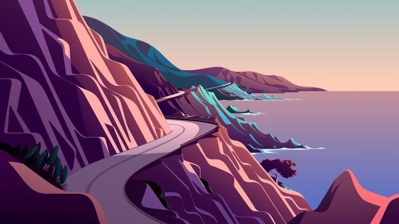 Coastline, Mountain pass, Road, Morning, Daylight, Scenery, Illustration, macOS Big Sur, iOS 14, Stock, Aesthetic, 5K, Wallpaper