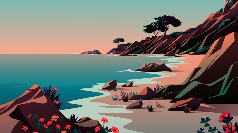 Beach, Landscape, Morning, Scenery, Illustration, macOS Big Sur, iOS 14, Stock, Aesthetic, 5K, Wallpaper