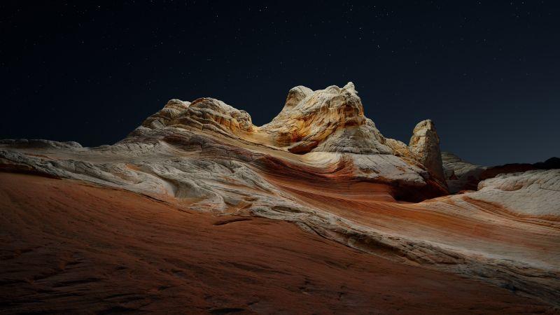 macOS Big Sur, Stock, Night, Sedimentary rocks, Desert, Starry sky, Dark, iOS 14, 5K, Wallpaper