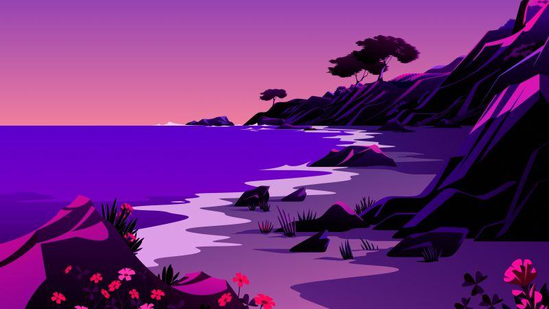 Beach, Landscape, Twilight, Sunset, Scenery, Illustration, macOS Big Sur, iOS 14, Stock, Aesthetic, 5K, Wallpaper