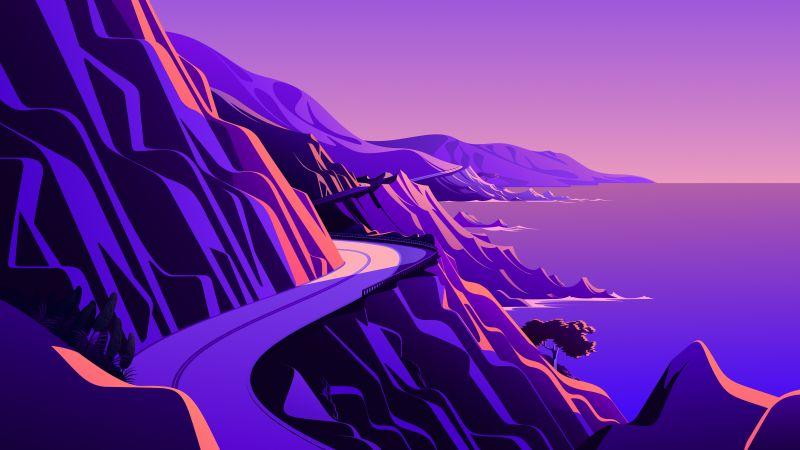 Coastline, Mountain pass, Road, Twilight, Sunset, Scenery, Illustration, macOS Big Sur, iOS 14, Stock, Aesthetic, 5K, Wallpaper