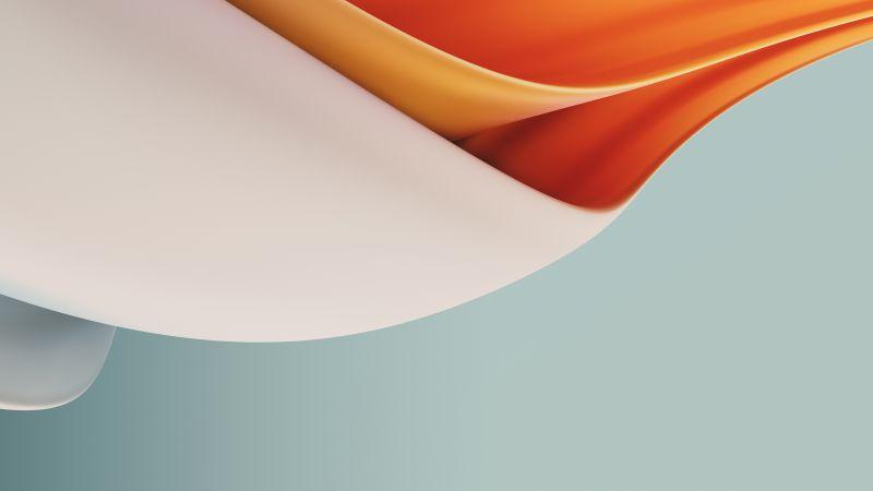 Waves, Fluidic, Orange, OnePlus Nord N100, Stock, Wallpaper