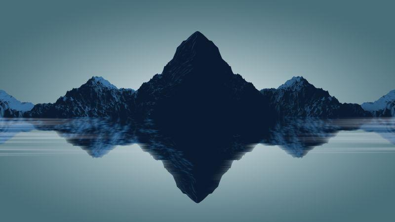 Mountains, Reflections, Minimal, Render, Digital composition, 5K, Wallpaper