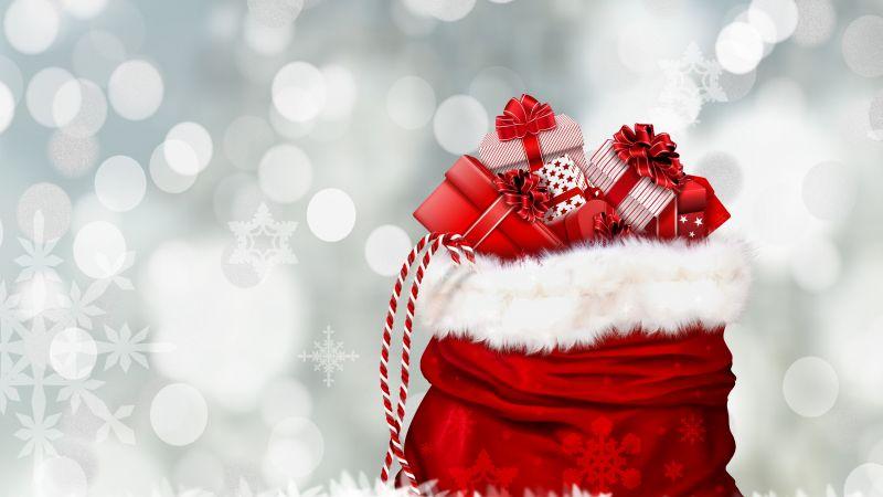 Gifts, Santa's bag, Presents, Bokeh, Lights, Christmas Eve, Xmas background, Wallpaper