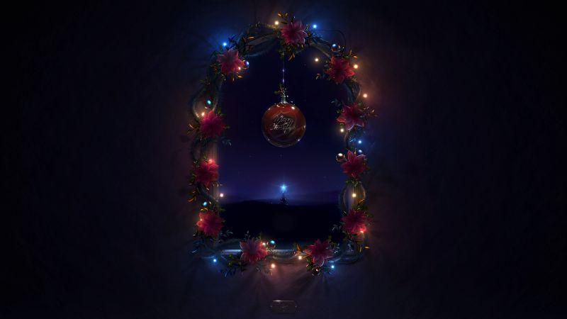 Christmas decoration, Merry Christmas, Night, Dark background, Lights, Garland, AMOLED, Wallpaper