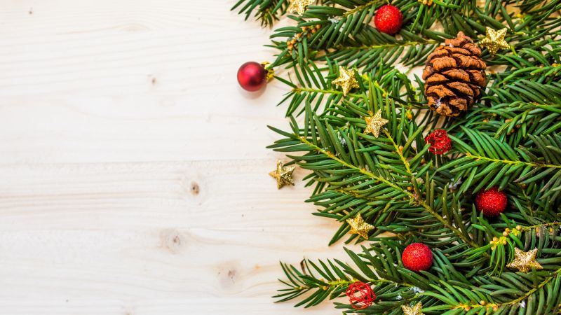Christmas decoration, Pine branches, Christmas balls, Stars, Wooden background, Merry Christmas, 5K, Wallpaper