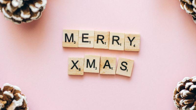 Merry Christmas, Letters, Peach background, Christmas decoration, Wallpaper