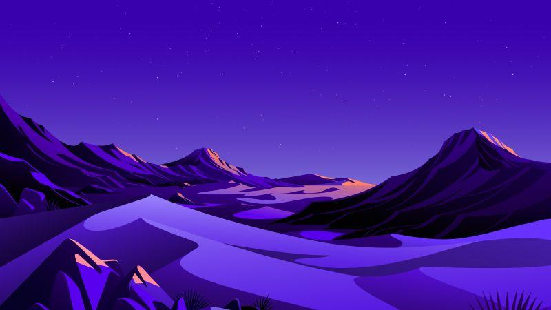 Mountains, Rocks, Night, Starry sky, Scenery, Illustration, macOS Big Sur, iOS 14, Stock, 5K, Wallpaper