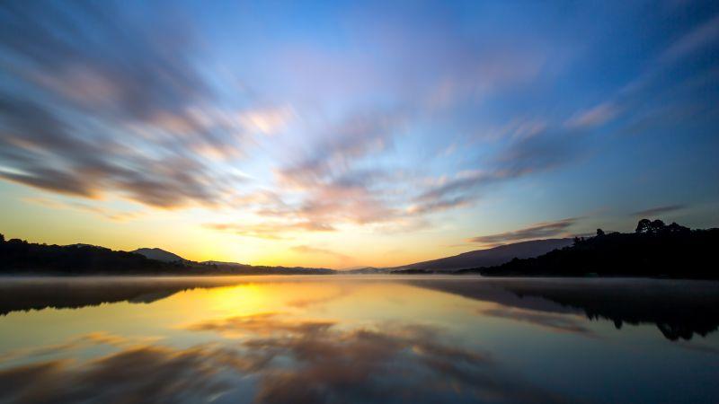 Crystal Springs Reservoir, California, Lake, Landscape, Reflection, Sunrise, Silhouette, Long exposure, 5K, Wallpaper