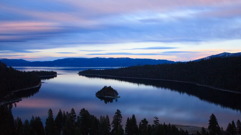 Emerald Bay, Lake Tahoe, California, Silhouette, Mountains, Mountain range, Reflection, Island, Landscape, Sunset, Wallpaper