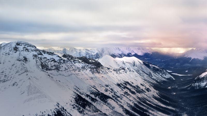 Glacier mountains, Snow covered, Sunrise, Landscape, Mountain range, Misty, Cloudy, Winter, Wallpaper