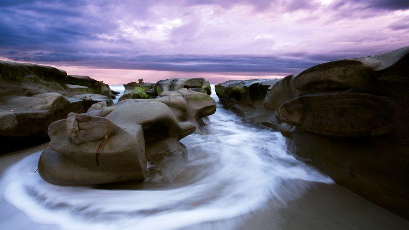 Rocky coast, La Jolla, Sunset, Cloudy Sky, Seascape, Long exposure, Ocean, Beach, Purple sky, Wallpaper
