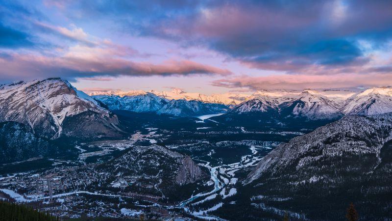 Banff National Park, Sulphur Mountain, Canada, Sunset, Bow Valley vantage point, Landscape, Snow covered, Winter, Village, Mountain range, Landscape, Wallpaper