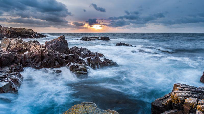 Kullaberg Nature Reserve, Sweden, Seascape, Rocky coast, Sunset, Clouds, Horizon, Waves, Long exposure, Wallpaper