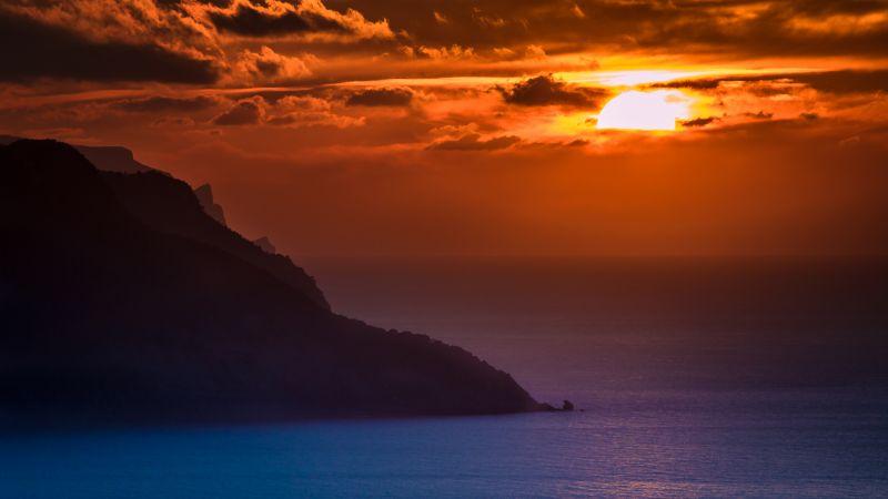 Mallorca Island, Spain, Sunset Orange, Cloudy Sky, Ocean, Dusk, Coastal, Body of Water, Landscape, 5K, Wallpaper