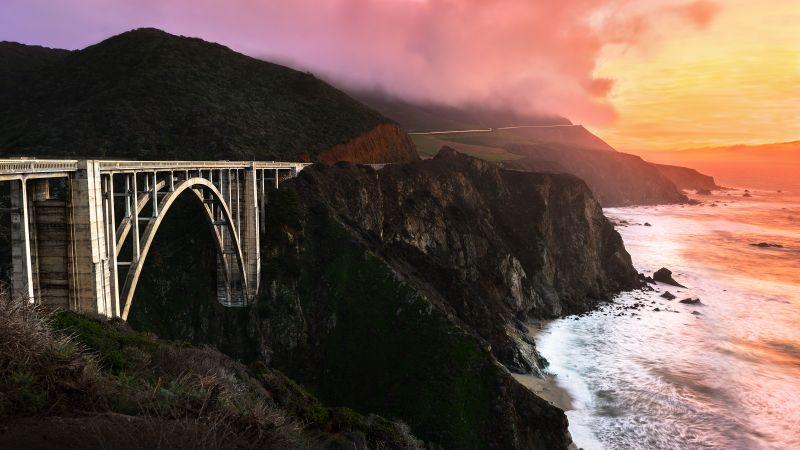 Bixby Creek Bridge, California, Sunset, Orange sky, Big Sur, Coastline, Foggy, Landscape, Long exposure, Ocean, Architecture, Wallpaper